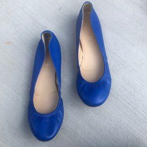 NWOB J.Crew Anya Blue Leather Ballerina Flats